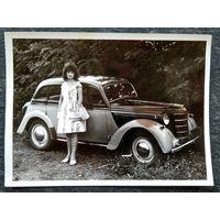 Фото с автомобилем. Пятигорск. 1963 г. 9х12 см.