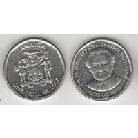 Ямайка km189 1 доллар 2008 год (новый тип) (круглая) (al)(f14)*