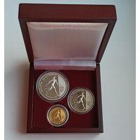 Художественная гимнастика, 1996, подарочный набор из 3 монет номиналами 1, 20 и 50 рублей в деревянном футляре