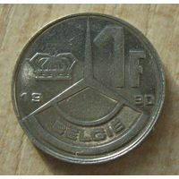 Бельгия 1 франк 1990  год (BELGIE)