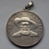 50 шиллингов 1959 Австрия (серебро)-ПОДВЕСКА. (150 лет освобождения Тироля)