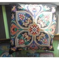 Подушка декоративная старинная вышивка звездочкой 40 на 40 см. Очень красивая 50-60 гг СССР