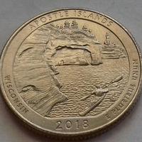 25 центов, квотер США, озёрное побережье островов Апостол, штат Висконсин, P D