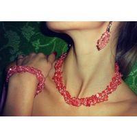 ХАЛЦЕДОН РОЗОВЫЙ. Ожерелье + серьги + браслет.