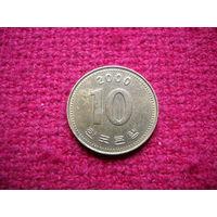 Корея 10 вон 2000 г.