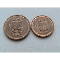 1 + 2 цента Латвия 2014г