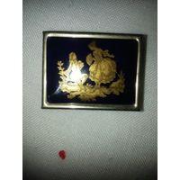 Таблетница. Фрагонар, Limoges, Франция. Фарфор, кобальт, позолота. 4х3х1,5 см