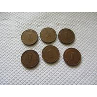 1 пфенниг 1976, 1977, 1979, 1987, 1991,1993 г.