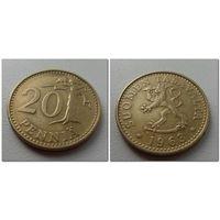20 пенни Финляндия 1963 г.в.KM# 47, 20 PENNIA, из коллекции