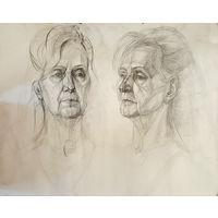 Женский портрет, академический рисунок в двух поворотах