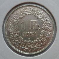 """Швейцария 1 франк 1952 """"Гельвеция - персонифицированный символ Швейцарии"""""""