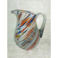 Сливочник молочник старый Нёман цветное стекло кувшинчик