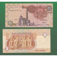 Банкнота Египет 1 фунт 2007 UNC ПРЕСС статуи фараонов в Абу-Симбел
