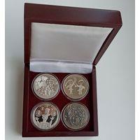 Футляр для 4 монет 1 рубль NiCu или 10 рублей Ag d=37.00 mm деревянный