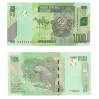 Банкнота Конго 1000 франков 2013 UNC ПРЕСС