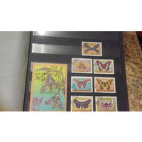 Бабочки, насекомые, фауна, марки и блок, Йемен, 1990