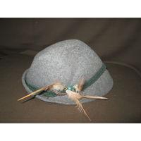 Фирменная шляпа Бюргера с перьями Германия 40-50-е г.