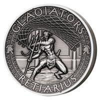 """Соломоновы острова 5 долларов 2017г. """"Римские гладиаторы: Ретиарий . Монета в капсуле; подарочном футляре; сертификат; коробка. СЕРЕБРО 62,27гр.(2 oz)."""