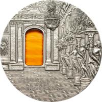 "RARE Палау 10 долларов 2009г. Тиффани ""Tiffany Art: БАРОККО: Зеркальная галерея"". Монета в капсуле; подарочном футляре; сертификат; коробка. СЕРЕБРО 62,20гр.(2 oz)."