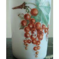 Старинный стакан молочное стекло Германия декорация ягоды
