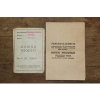 Personalauswis, Dowod Osobisty, Военные документы  1938 г. 1944 г. Всё на фото.