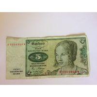 Банкнота 5 немецких марок 1980 год