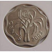 """Свазиленд. 10 центов 2002 год  КМ#49  """"Король Мсвати III""""  """"Сахарный тростник"""""""