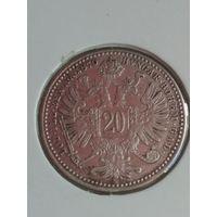 Австрия 20 крейцер 1870 состояние