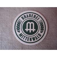 """Подставка под пиво (бирдекель) """"MITTENWALD"""" (Германия).(1)."""