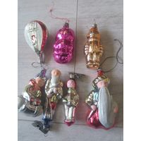 Винтаж коллекционные ёлочные  игрушки из СССР стекло