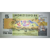 5 долларов - Австралия (Экспо-1988) - UNC