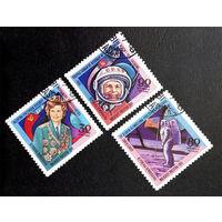 Мадагаскар 1981 г. Космос. Гагарин, Терешкова, Армстронг, полная серия из 3 марок #0156-K1P12