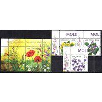 Молдова Молдавия  2009 Флора Полевые цветы, 3 м. с блоком **