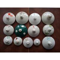 Крышки фарфоровые от посуды 30-60тых годов одним лотом