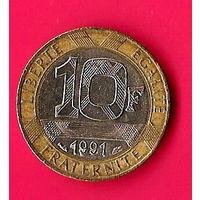36-29 Франция, 10 франков 1991 г.