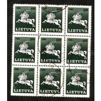Лист марок 3х3 Литва 1991 год.