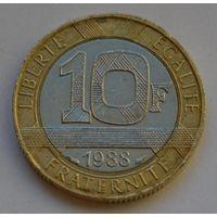 Франция, 10 франков 1988 г.