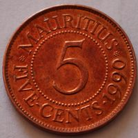 Маврикий, 5 центов 1990 г