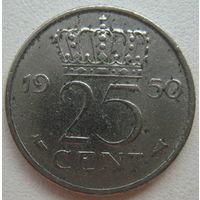Нидерланды 25 центов 1950 г.