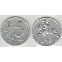 Литва _km87 5 центов 1991 год (h01)