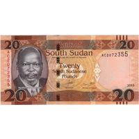 Судан, 20 фунтов, 2015 г., UNC