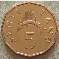 """Танзания. 5 сенти(центов) 1981 год КМ#1 """"Рыба-парусник"""""""