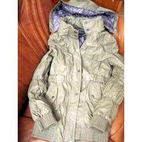 Фирменное тёплая  удлинённая куртка. эко кожа, халофайбер