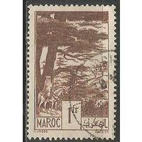 Французское Марокко. Всадник в вековом лесу. 1939г. Mi#158.
