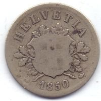 Швейцария, 10 раппенов 1850 года.
