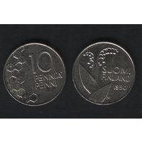 Финляндия km65 10 пенни 1990 год (M) (новый тип) CuNi цветы (f311)