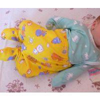 Желтые ползунки на ребенка от 0 до 4-х месяцев