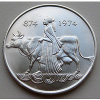 500 крон 1974 Исландия 1100 лет заселения страны викингами Серебро 0.925