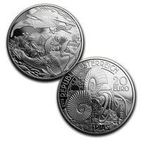 """RARE Австрия 20 евро 2013-15г. Полный набор 5 монет: """"Доисторическая жизнь на земле"""". Монеты в капсулах; подарочных футлярах; номерные сертификаты; коробки. СЕРЕБРО 5х20гр."""