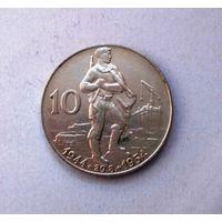 Чехословакия (послевоенная) 10 крон, 1954 г. Словацкое восстание, серебро AU/UNC